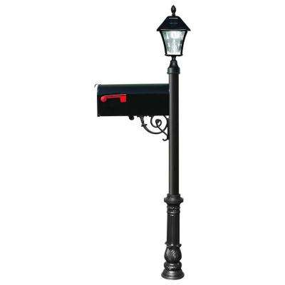 Lewiston Mailbox Collection Post with Economy #1 Mailbox, Ornate Base and Solar Lamp in Black