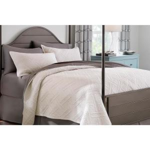 Binghamton 3-Piece Ivory Solid Cotton King Quilt Set