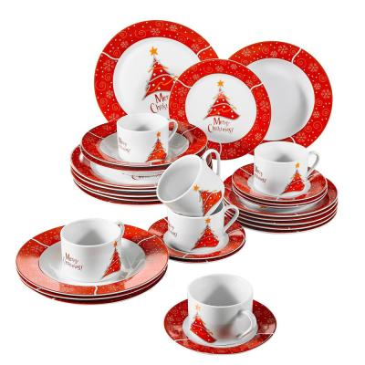 30-Piece Porcelain Dinnerware Set Christmas Tree Pattern Dinner Plates Set Cup and Saucer Set(Service for 6)