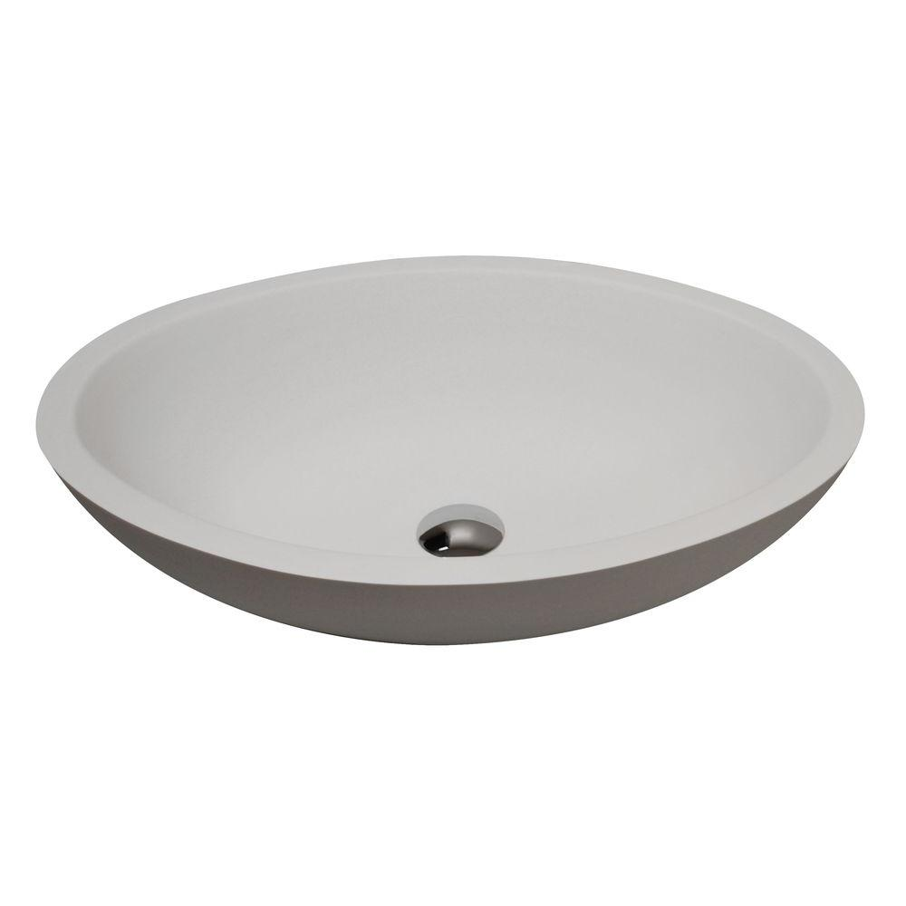 ANZZI Maine 1-Piece Man Made Stone Vessel Sink with Pop Up Drain in Matte White