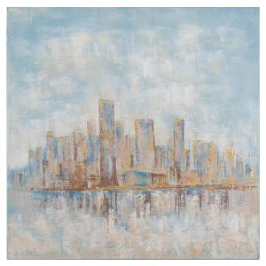 Yosemite Home Decor 39.4 inch H x 39.4 inch W City Brushed with Blue Artwork in Canvas by Yosemite Home Decor