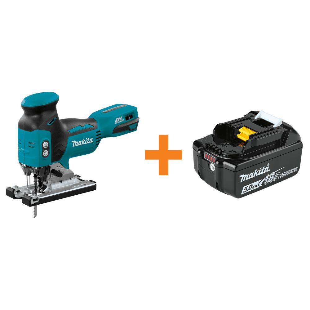 Makita 18-Volt LXT Lithium-Ion Brushless Cordless Barrel Grip Jig Saw Tool-Only with Bonus 18-Volt LXT 5.0 Ah Battery
