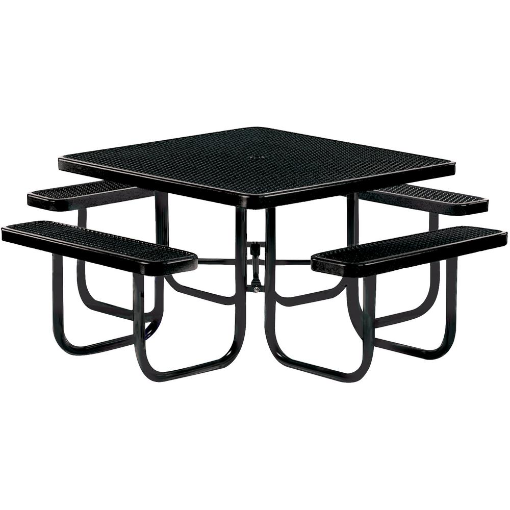 Tradewinds Park 46 in. Black Commercial Square Picnic Table