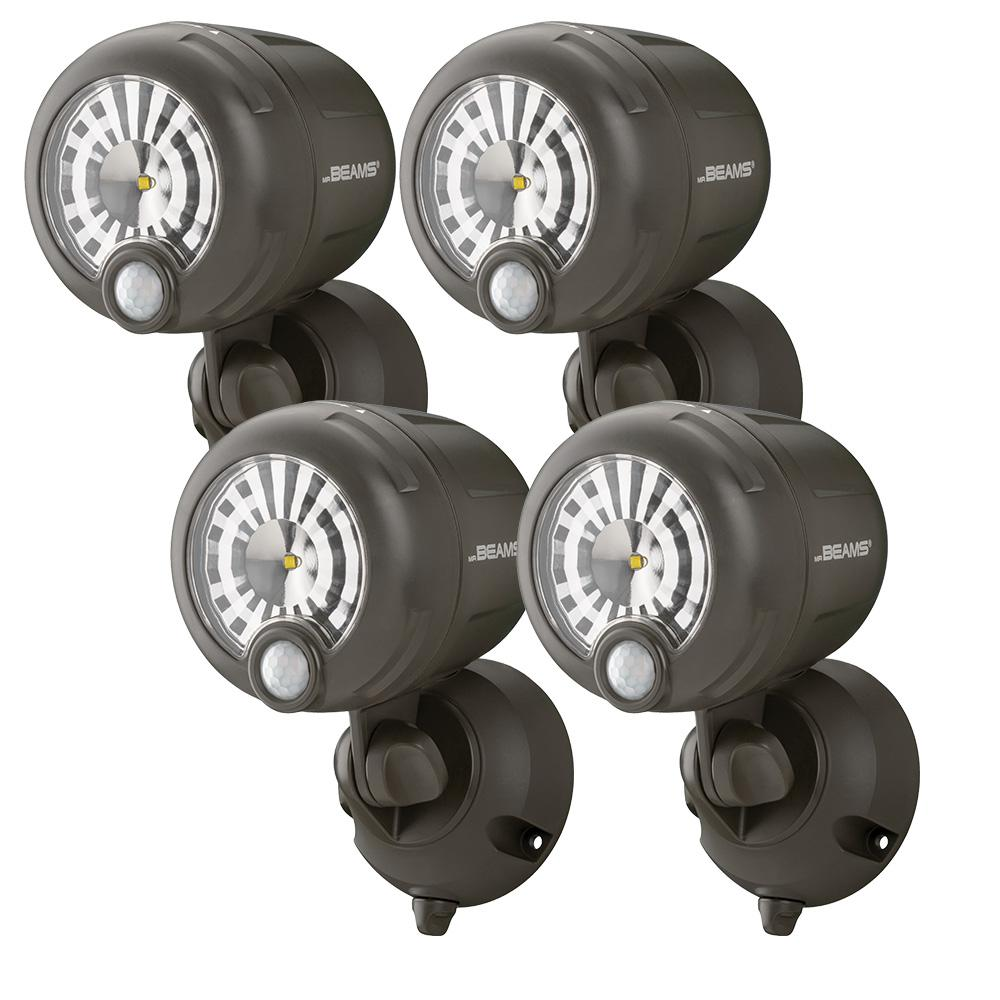 Mr Beams Wireless 120-Degree Bronze Motion Sensing Outdoor Integrated LED Security Spot Light (4-Pack)
