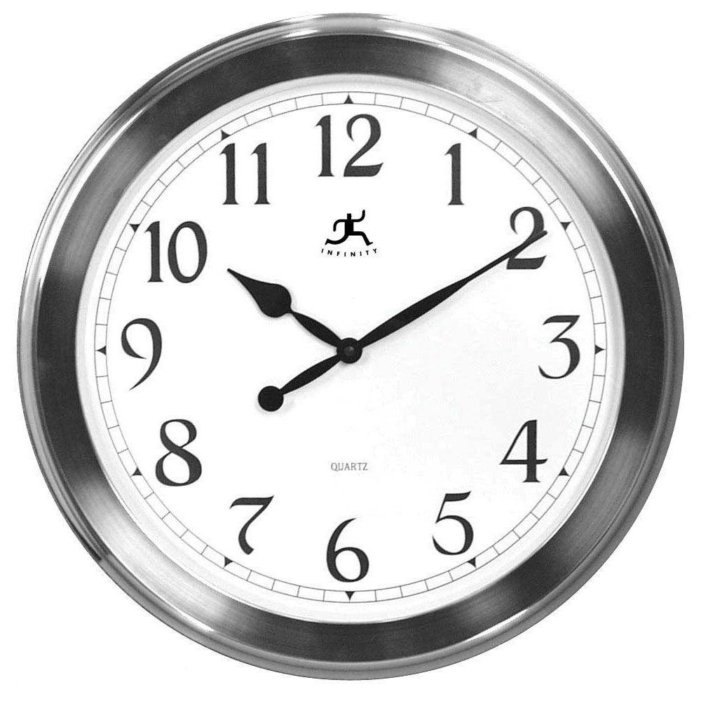 Home Decorators Collection 20 in. Brushed Nickel Wall Clock