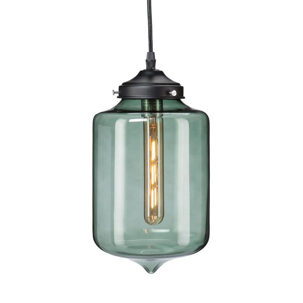 Mercado 1 Light Smoky Green Colored Gl Pendant Lamp