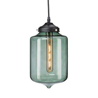 Green pendant lights lighting the home depot mercado 1 light smoky green colored glass pendant lamp aloadofball Image collections