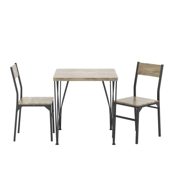 Dans 3-Piece Gray and Bronze Dining Set