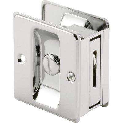 Chrome Plated Pocket Door Privacy Lock with Pull