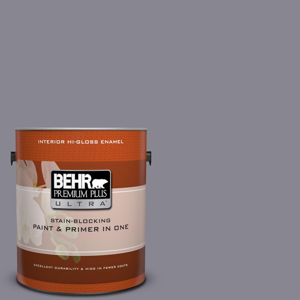 Behr premium plus ultra 1 gal mq5 3 old amethyst hi gloss enamel interior paint and primer in for Best interior paint and primer in one