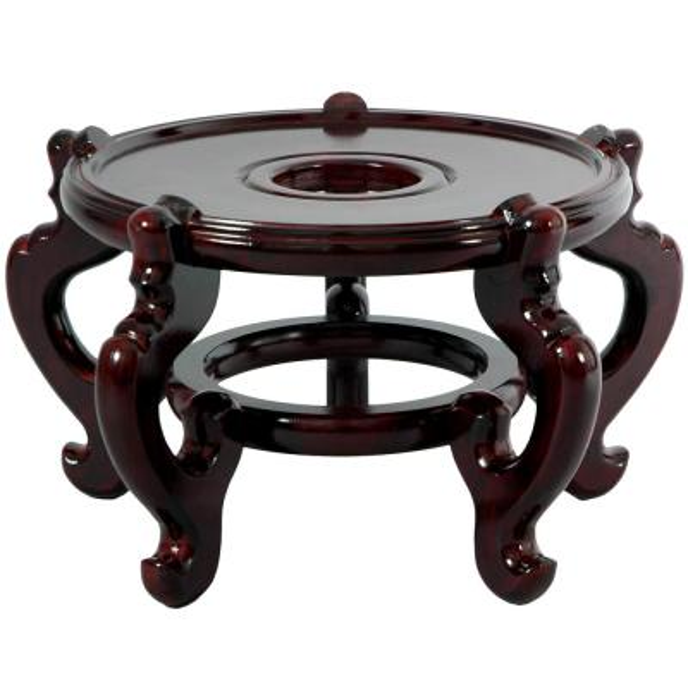 Oriental Furniture 9.5 in. Rosewood Fishbowl Stand in Dark Rosewood