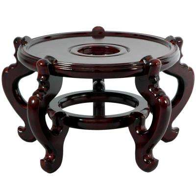 Oriental Furniture 9.5 In. Rosewood Fishbowl Stand In Dark Rosewood