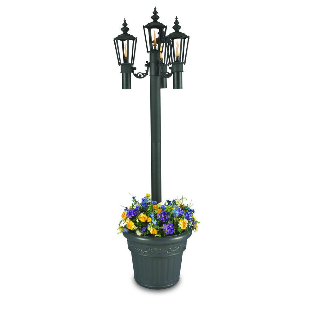 Patio Living Concepts Islander Park Style Citronella Four Flame Outdoor Post Lantern Black with Planter
