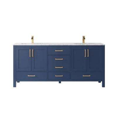 Shannon 72 in. Bath Vanity in Blue with Carrara White Marble Countertop with White Basins