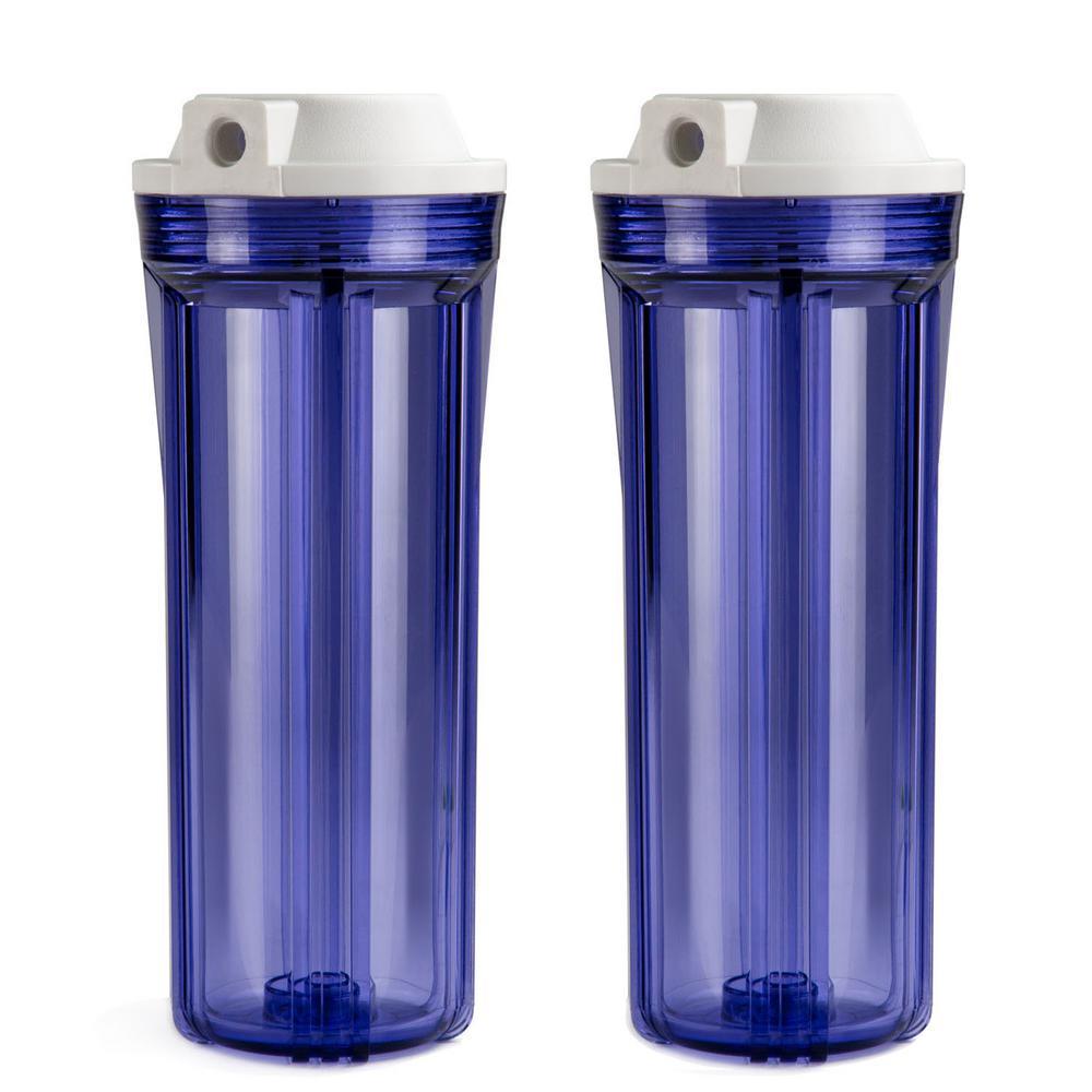 Transparent Water Filter Housings 10 in. RO / Aquarium (2-Pack)