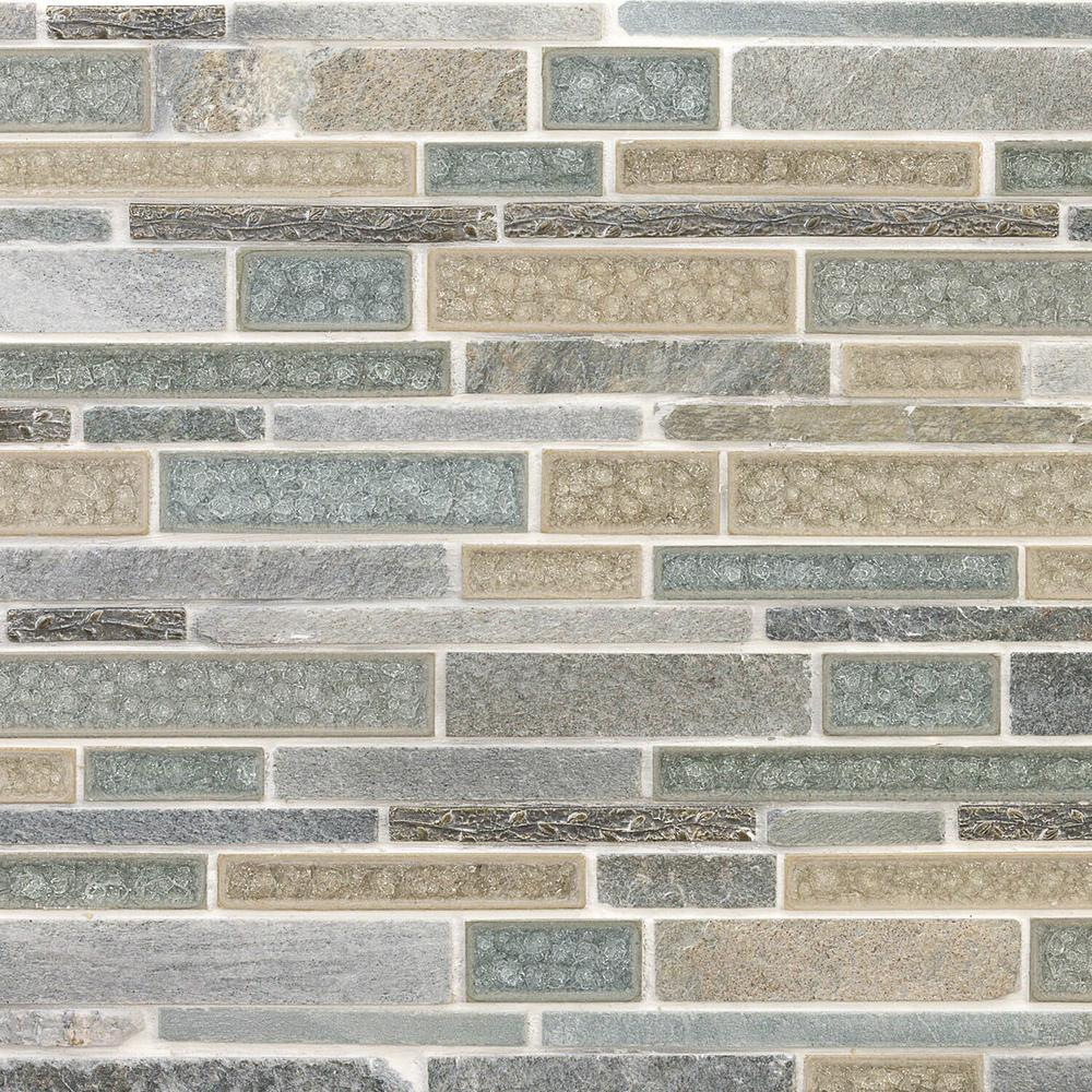 Ivy Hill Tile Olive Branch Green 11-3/4 in. x 11-3/4 in. x 10 mm Quartz Glass and Stone Mosaic Tile