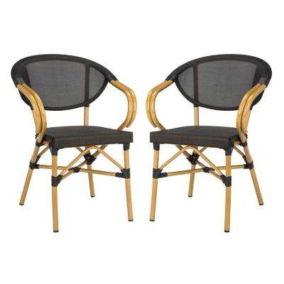 Burke Stacking Aluminum Outdoor Dining Chair in Black (Set of 2)