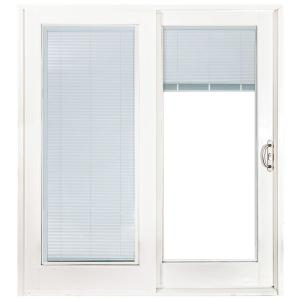 72 in. x 80 in. Smooth White Right-Hand Composite PG50 Sliding Patio Door with Low-E Built in Blinds
