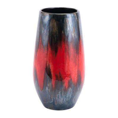 Black and Red Lava Tall Decorative Vase