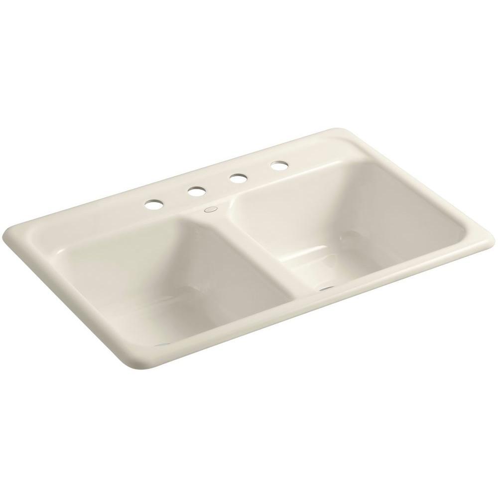 KOHLER Delafield Drop-In Cast-Iron 33 in. 4-Hole Double Bowl Kitchen Sink  in Almond