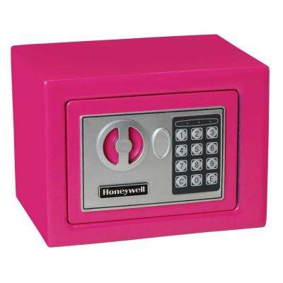 0.17 cu. ft. Small Steel Security Safe with Programmable Digital Lock, Pink