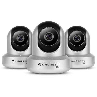 UltraHD 2-Way Audi Wireless Indoor Dome IP Surveillance Camera with 2K (3MP/2304TVL) Pan/Tilt in Silver (3-Pack)