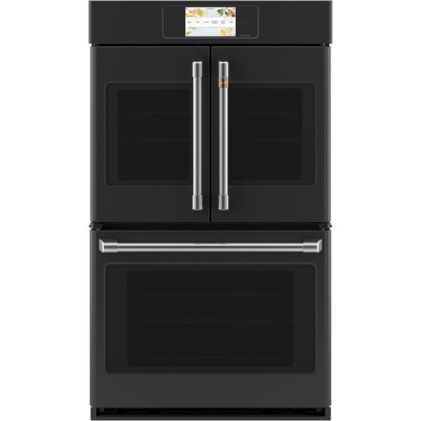 30 in. Smart Double Electric French-Door Wall Oven with Convection Self Cleaning in Matte Black, Fingerprint Resistant