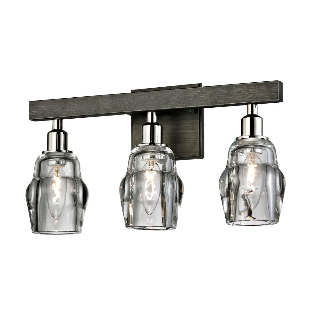 Troy Lighting Citizen 3 Light Graphite And Polished Nickel Bath With Clear Pressed Glass