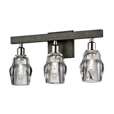 Citizen 3-Light Graphite and Polished Nickel Bath Light with Clear Pressed Glass Shade