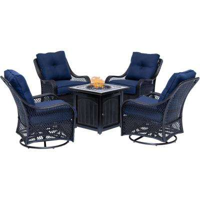 Orleans 5-Piece Steel Patio Fire Pit Conversation Set with Navy Blue Cushions, Swivel Gliders and Square Fire Pit Table