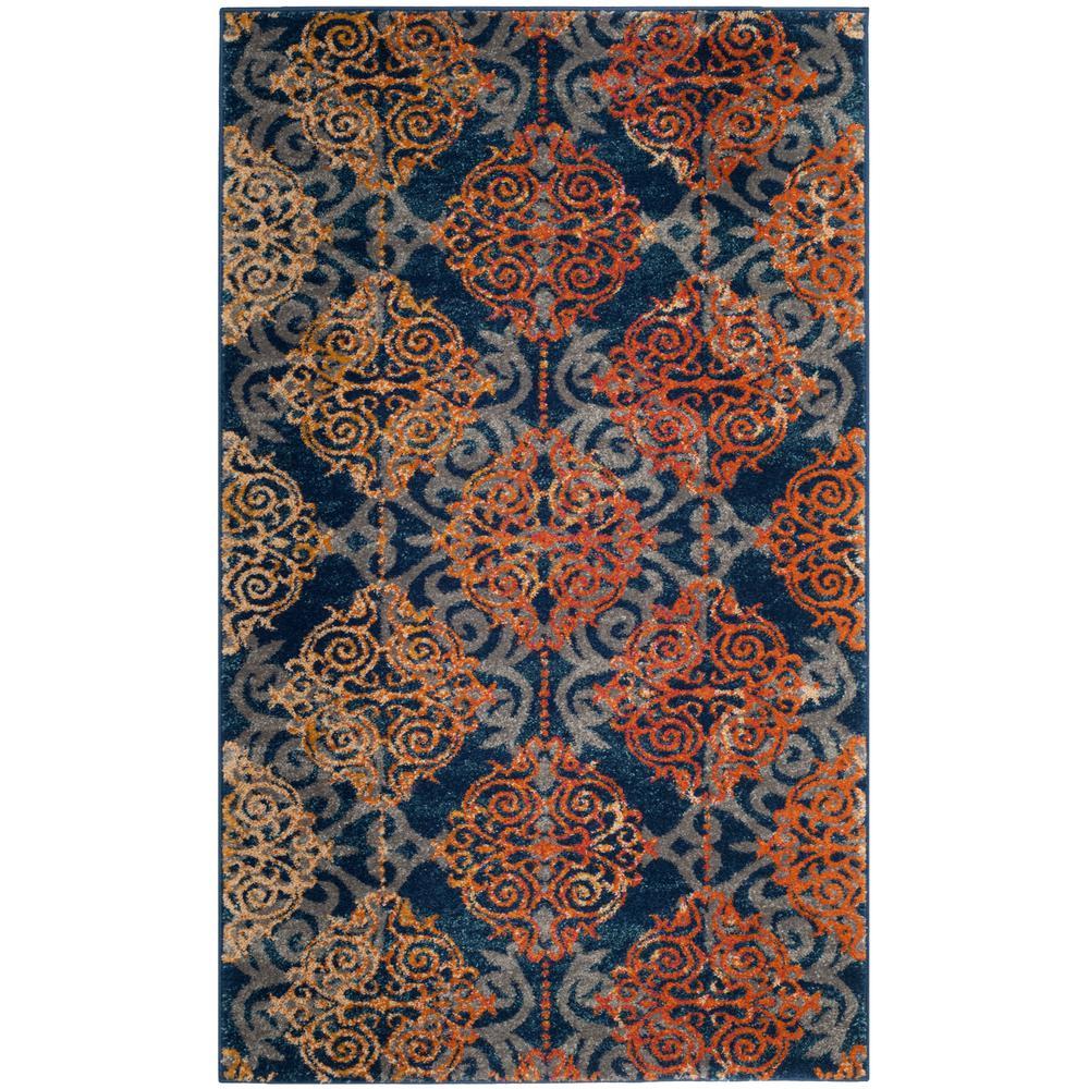 Safavieh Evoke BlueOrange 3 ft x 5 ft Area RugEVK230S3 The