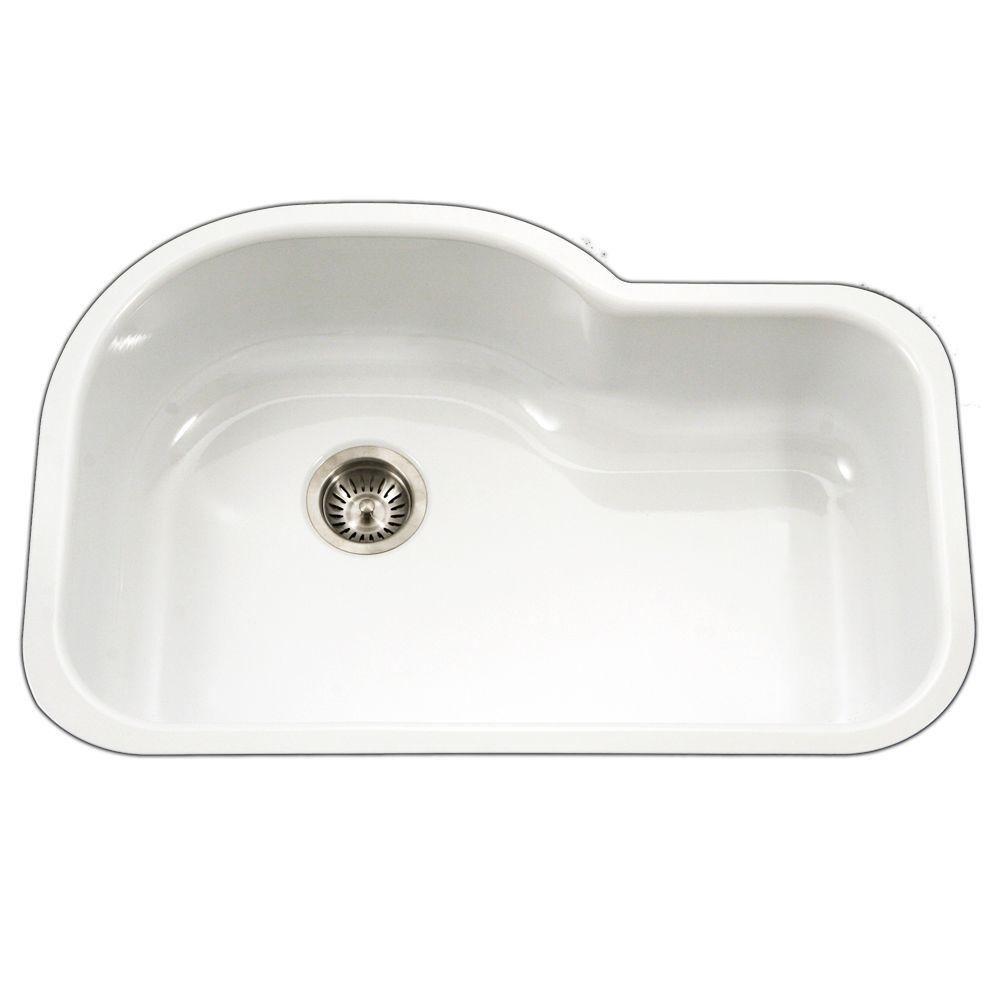 Houzer Porcela Series Undermount Porcelain Enamel Steel 31 In Offset Single Bowl Kitchen Sink