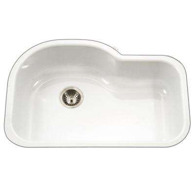 Porcela Series Undermount Porcelain Enamel Steel 31 in. Offset Single Bowl Kitchen Sink in White