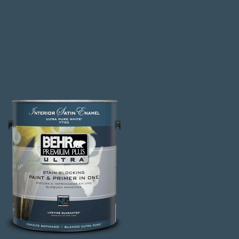 BEHR Premium Plus Ultra 1 gal. #UL230-23 Restless Sea Satin Enamel Interior Paint and Primer in One