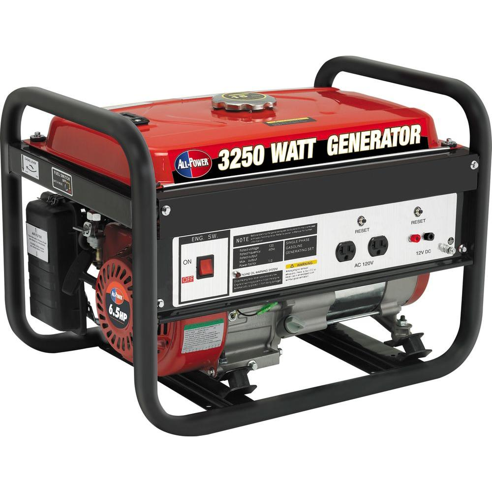 All Power 2500-Watt Gasoline Powered Portable Generator with 4-Cycle AVR System The All Power 3250-Watt 4-Cycle Gasoline Powered Portable Generator offers an ultra lightweight and compact design that provides reliable power whenever needed with its 6.5 HP OHV engine (3250-watt surge, 2500-watt rated). It produces 20 amps at 120-volt power and runs eight hours at 1/2 load on 4 gallons of fuel, with an operating noise of 68 dB. The generator includes two AC 120-volt outlets, one 12-volt DC output and is EPA approved.
