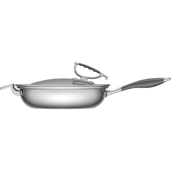 Cookcraft By Candace Cookcraft By Candace 16 5 In Stainless Steel Skillet With Glass Lid Ccb 4004 13 The Home Depot
