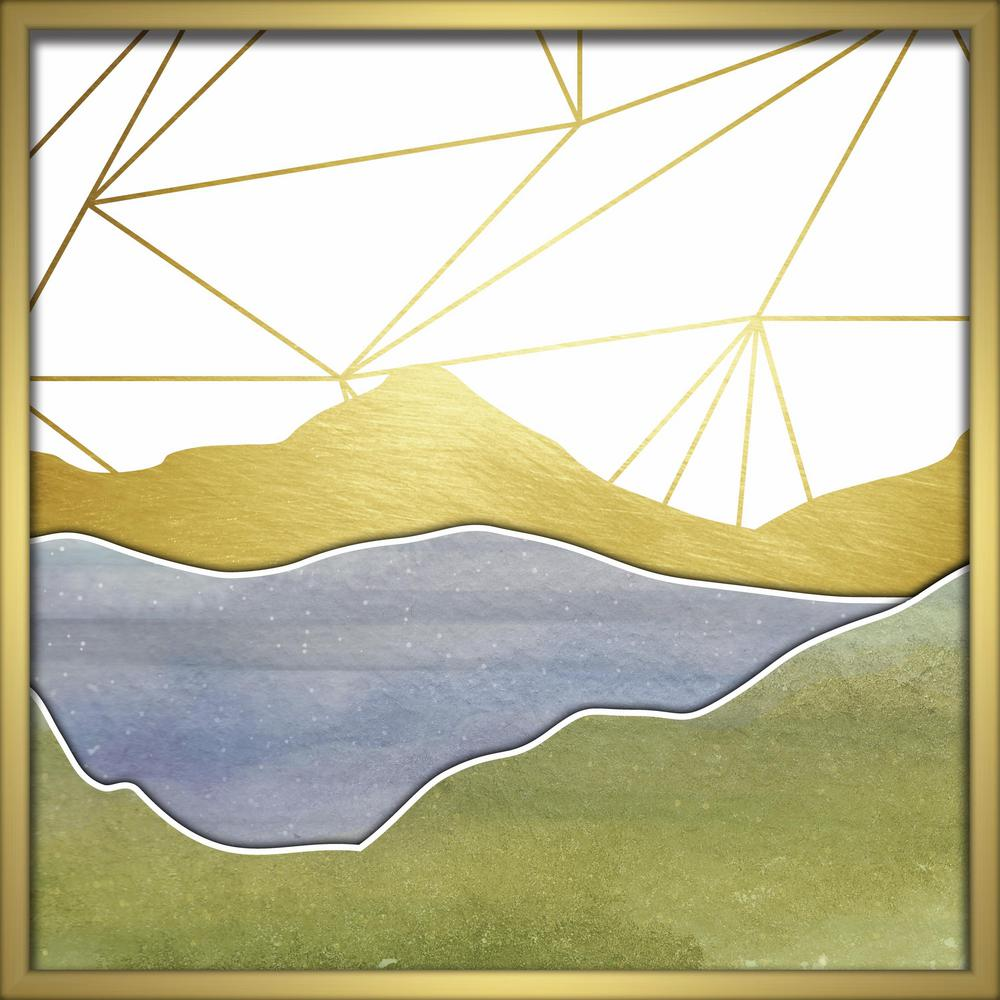 """Linden Ave 24 in. x 24 in. """"Watercolor Mountains-Blue"""" Shadowbox ..."""