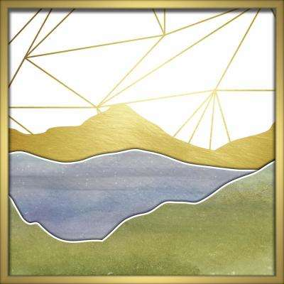 """24 in. x 24 in. """"Watercolor Mountains-Blue"""" Shadowbox Wall Art"""
