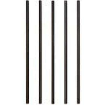 26 in. x 3/4 in. Black Aluminum Round Satin Smooth Deck Railing Baluster with Connectors (5-Pack)
