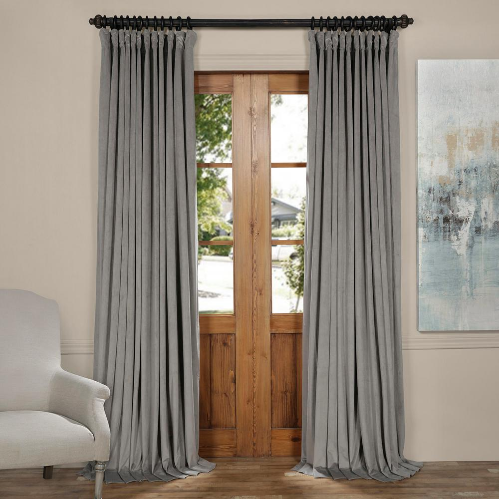 Exclusive Fabrics U0026 Furnishings Blackout Signature Silver Grey Doublewide  Blackout Velvet Curtain   100 In.