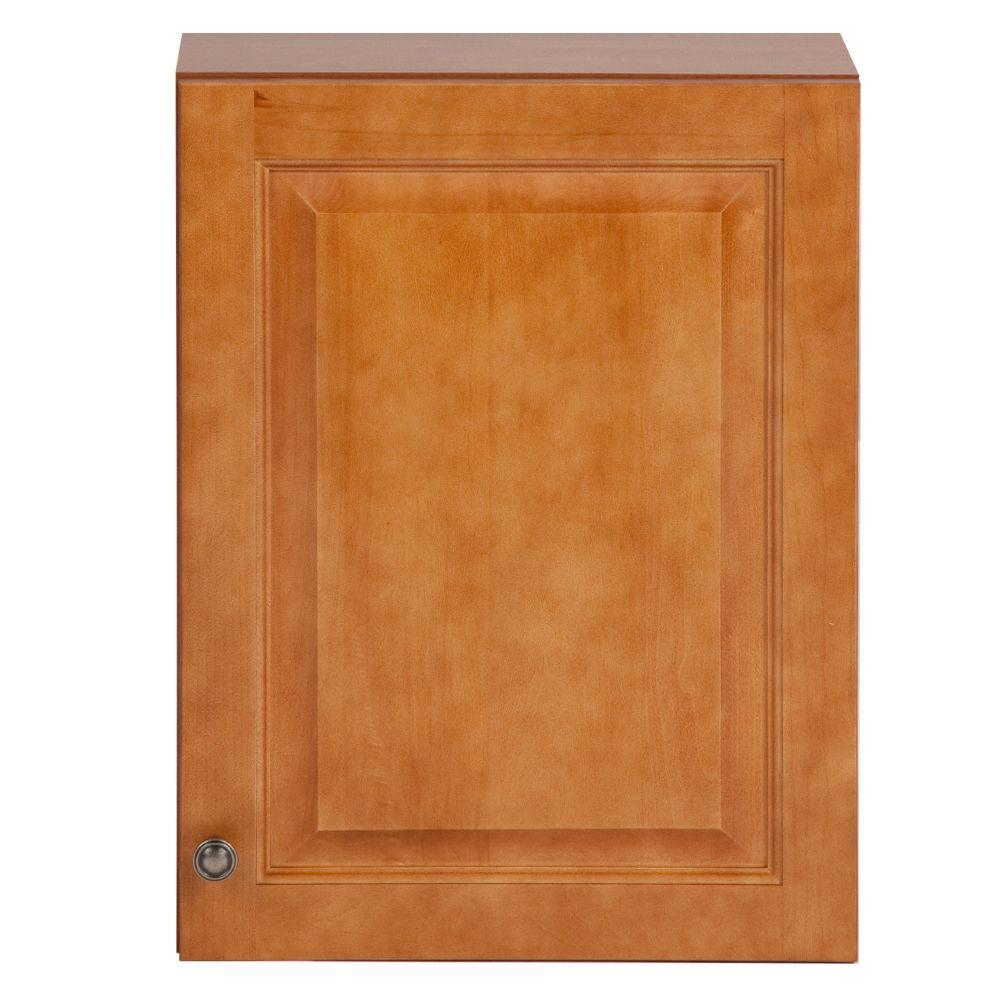 Glacier Bay Chelsea 18 in. W x 24 in. H x 7-7/8 in. D Over the Toilet Bathroom Storage Wall Cabinet in Nutmeg