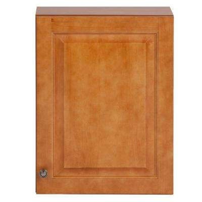 Chelsea 18 in. W x 24 in. H x 7-7/8 in. D Over the Toilet Bathroom Storage Wall Cabinet in Nutmeg