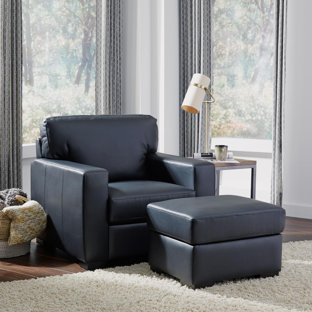 Home Styles Alex Black Faux Leather Ottoman 5220-90