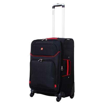 24 in. Black and Red Spinner Suitcase