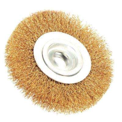 6 in. x 1/2 in. Arbor Crimped Brass Coated Steel Wire Wheel Brush 0.012 in. Wire