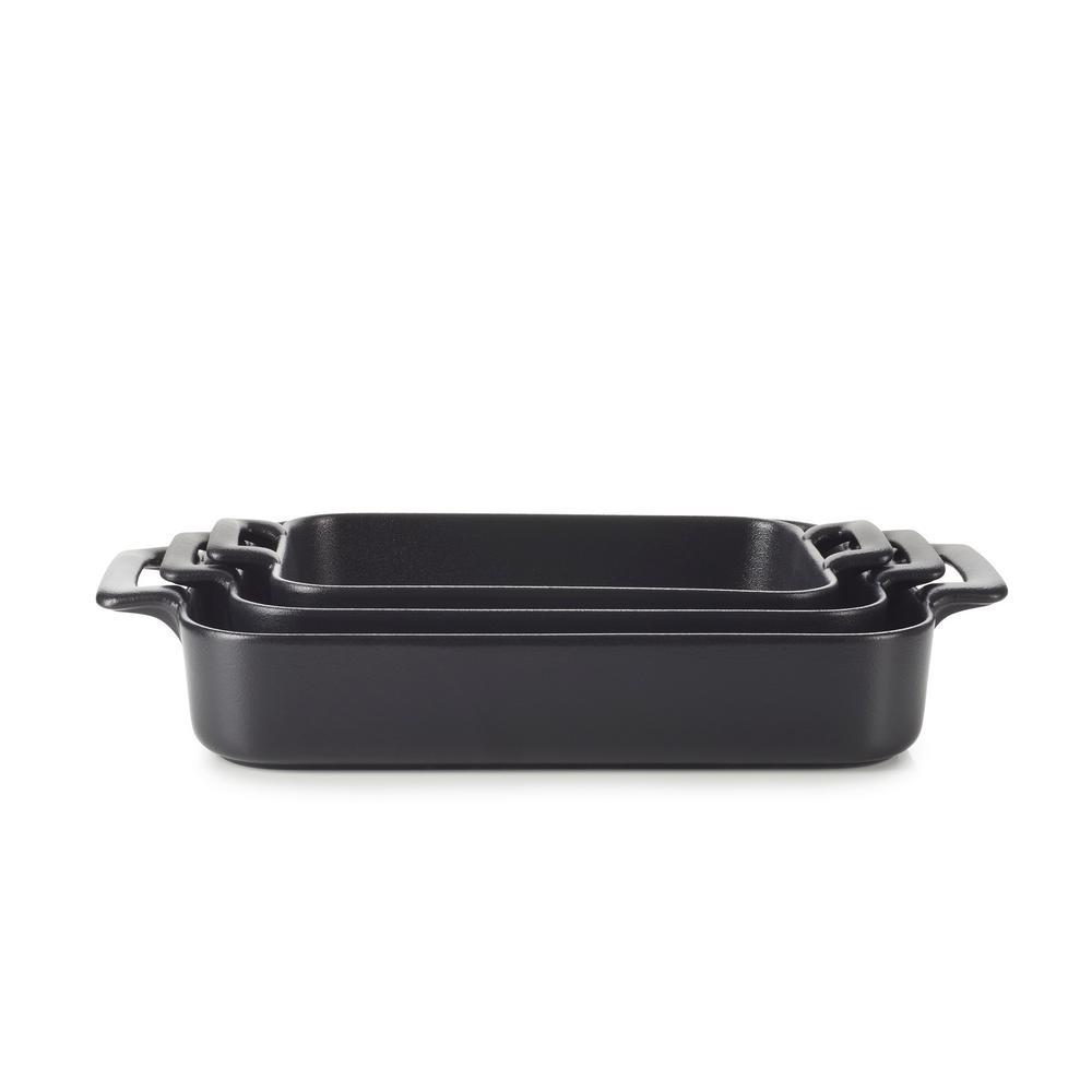 Belle Cuisine 3-Piece Rectangular Porcelain Roasting Dish Set in Black