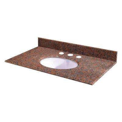 49 in. W Granite Vanity Top in Terra Cotta with White Bowl and 8 in. Faucet Spread