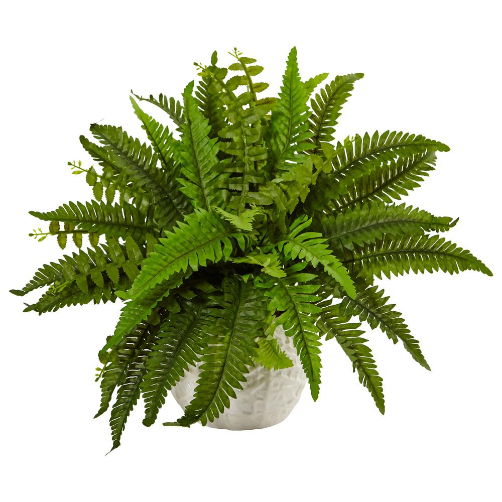 Nearly Natural Indoor Boston Artificial Fern in White Planter-6308 ...