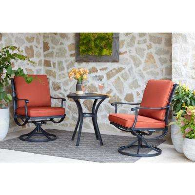 Redwood Valley 3-Piece Steel Outdoor Bistro Set with Cushions Included Choose Your Own Color