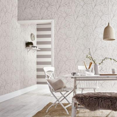 Innocence Stone/Cream Vinyl Strippable Wallpaper (Covers 56 sq. ft.)